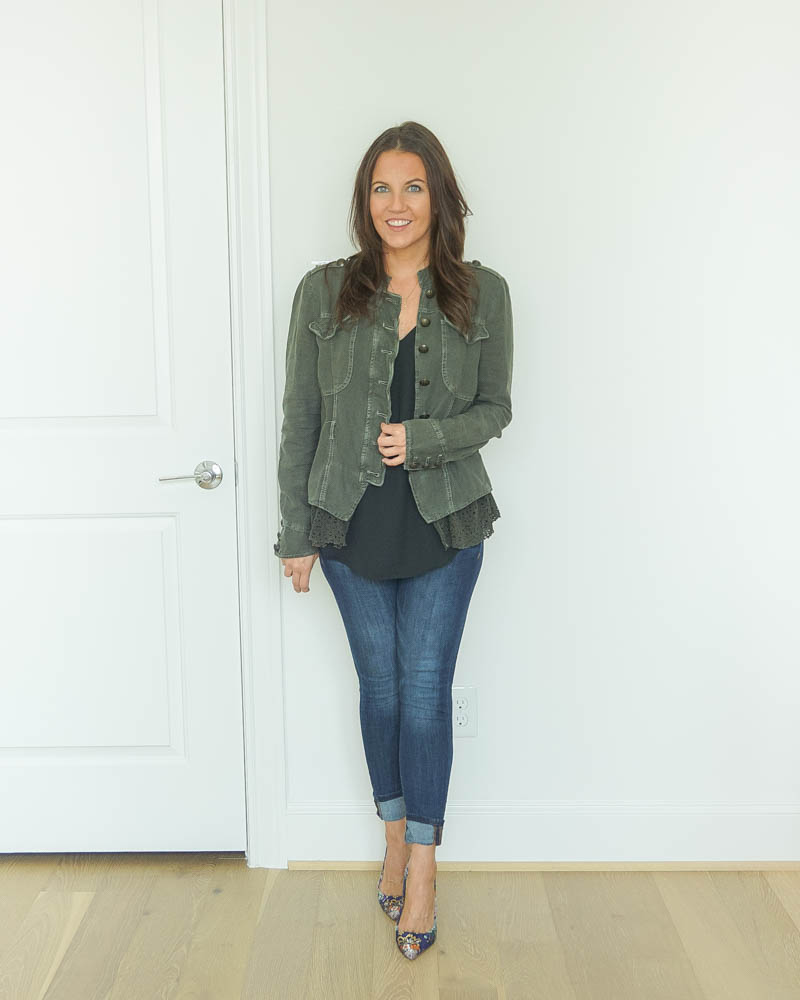 fall outfit | gray military style jacket | black cami | floral heels | Petite Fashion Blog Lady in Violet