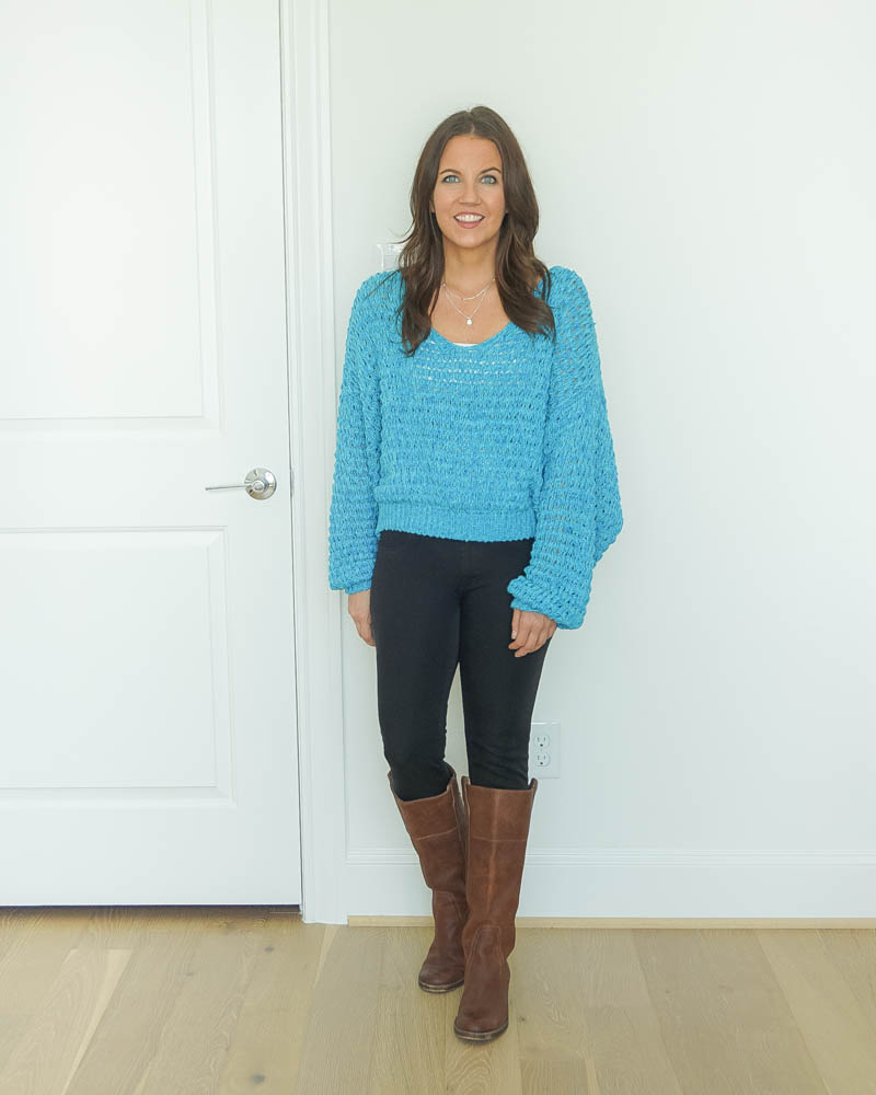 fall outfits | blue sweater | black jeans | brown boots | Houston Fashion Blog Lady in Violet