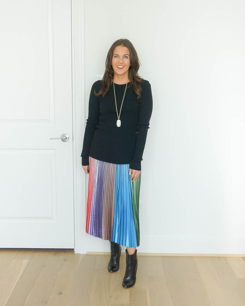 fall work outfit | black fitted sweater | colorful pleated long skirt | Affordable Fashion Blog Lady in Violet