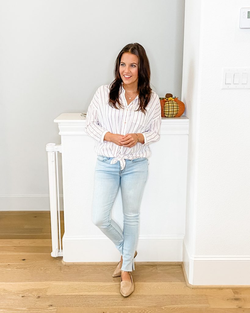 work at home outfit | striped button down top | light blue jeans | Petite Fashion Blog Lady in Violet