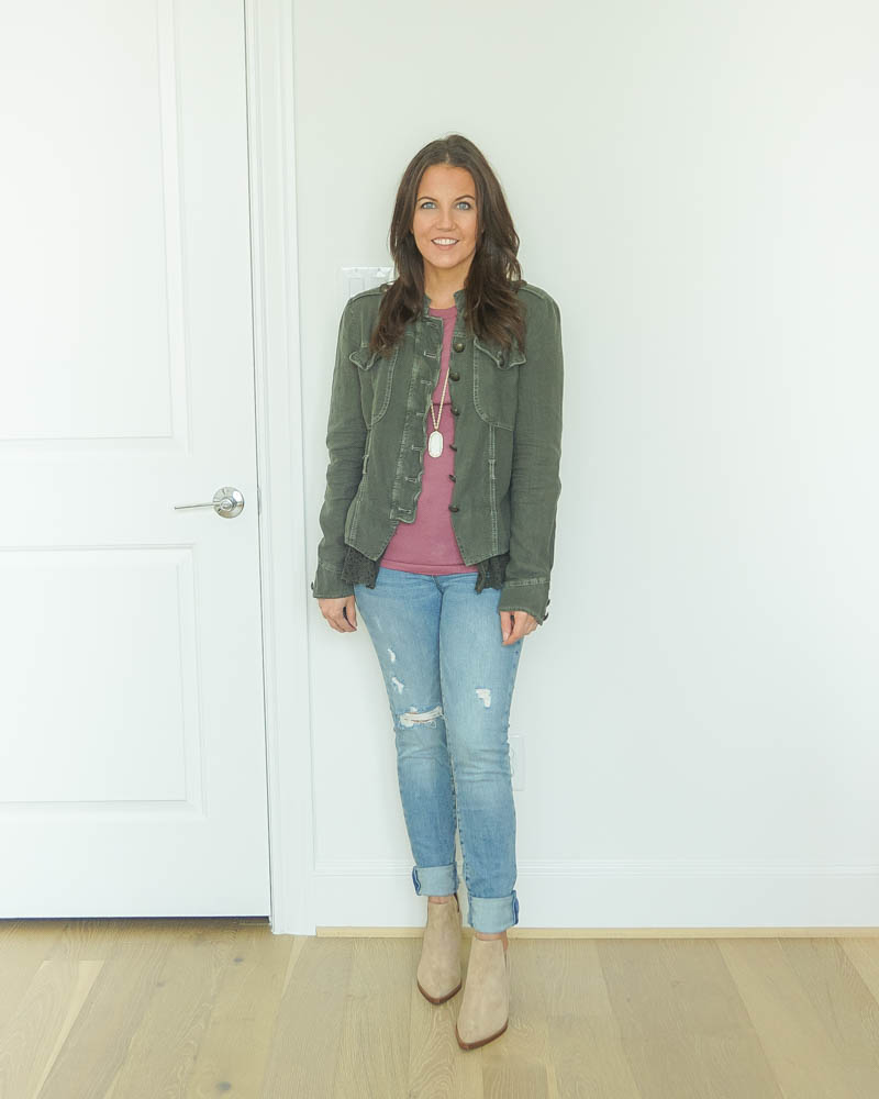 casual fall outfit | lace trip jacket | distressed jeans | Texas Fashion Blog Lady in Violet