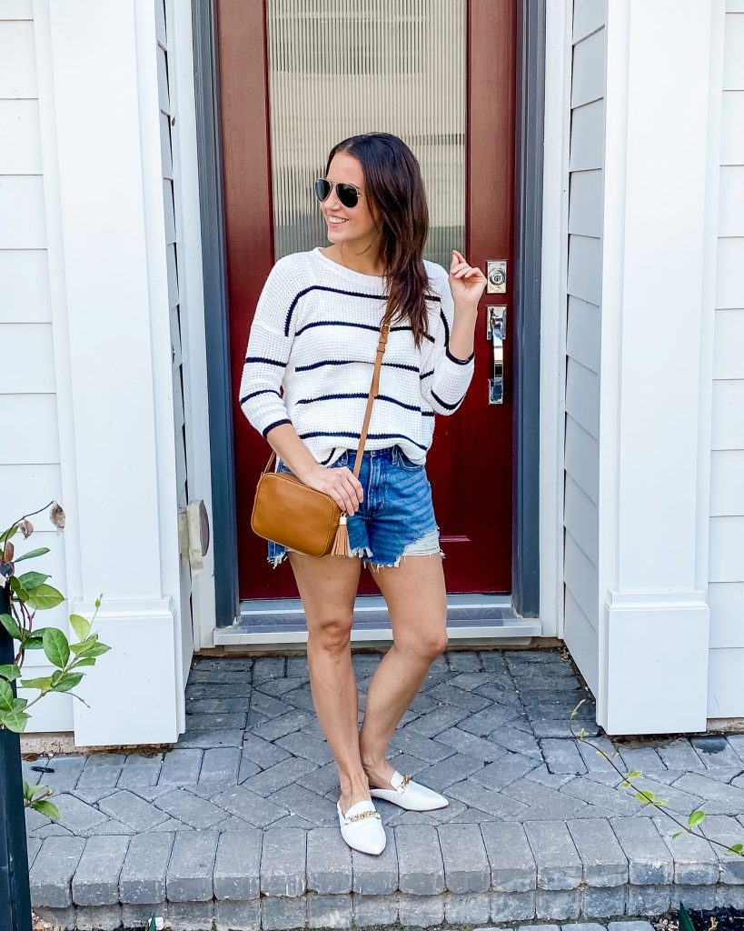 casual outfit | sweaters with shorts | white slides | Affordable Fashion Blog Lady in Violet