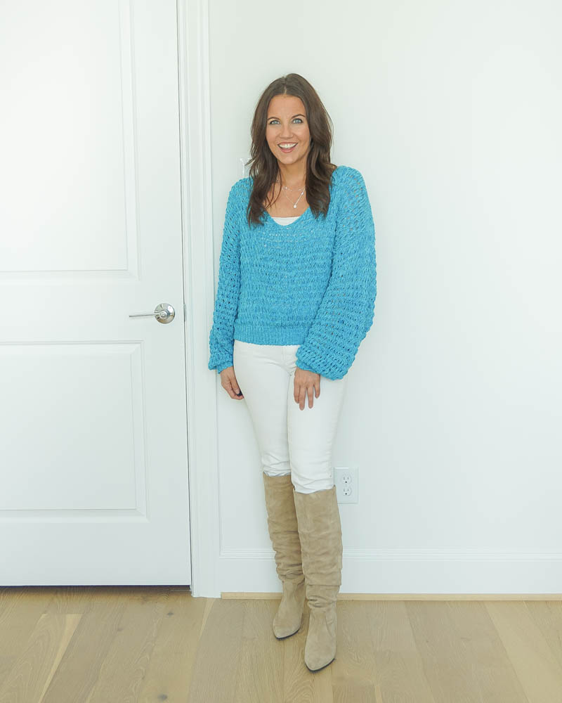 winter outfits | neon blue sweater | white jeans | suede boots | Everyday Fashion Blog Lady in Violet