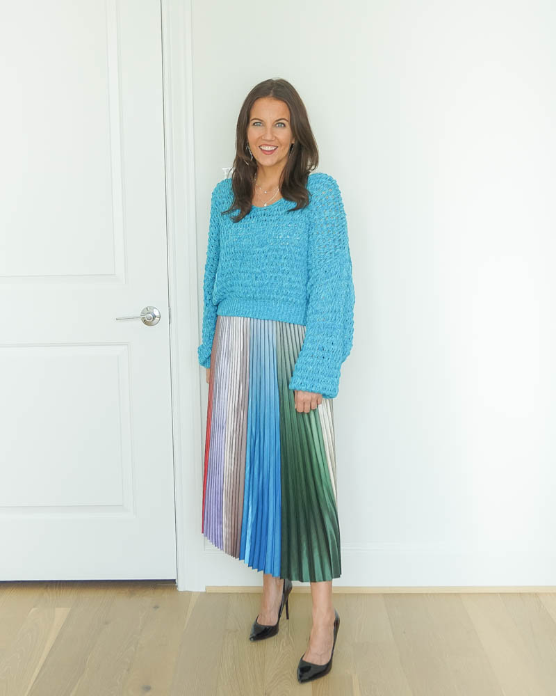 winter work outfit | blue cropped sweater | multicolor pleated midi skirt | Houston Fashion Blog Lady in Violet