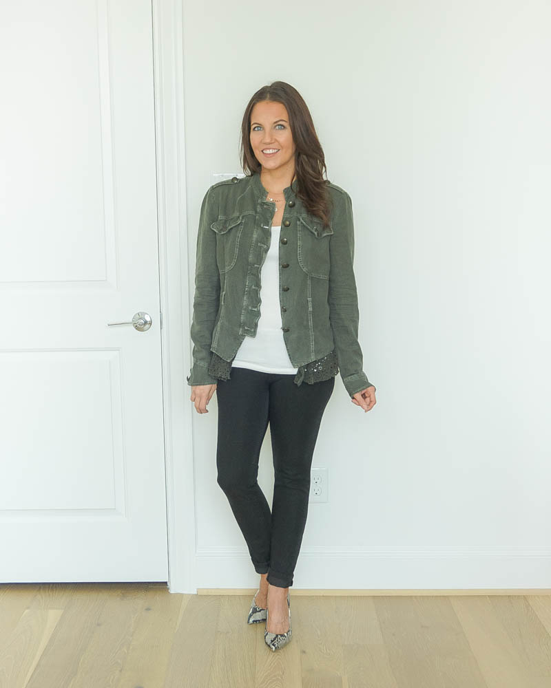 fall outfit ideas | military style jacket | black jeans | Southern Style Blog Lady in Violet