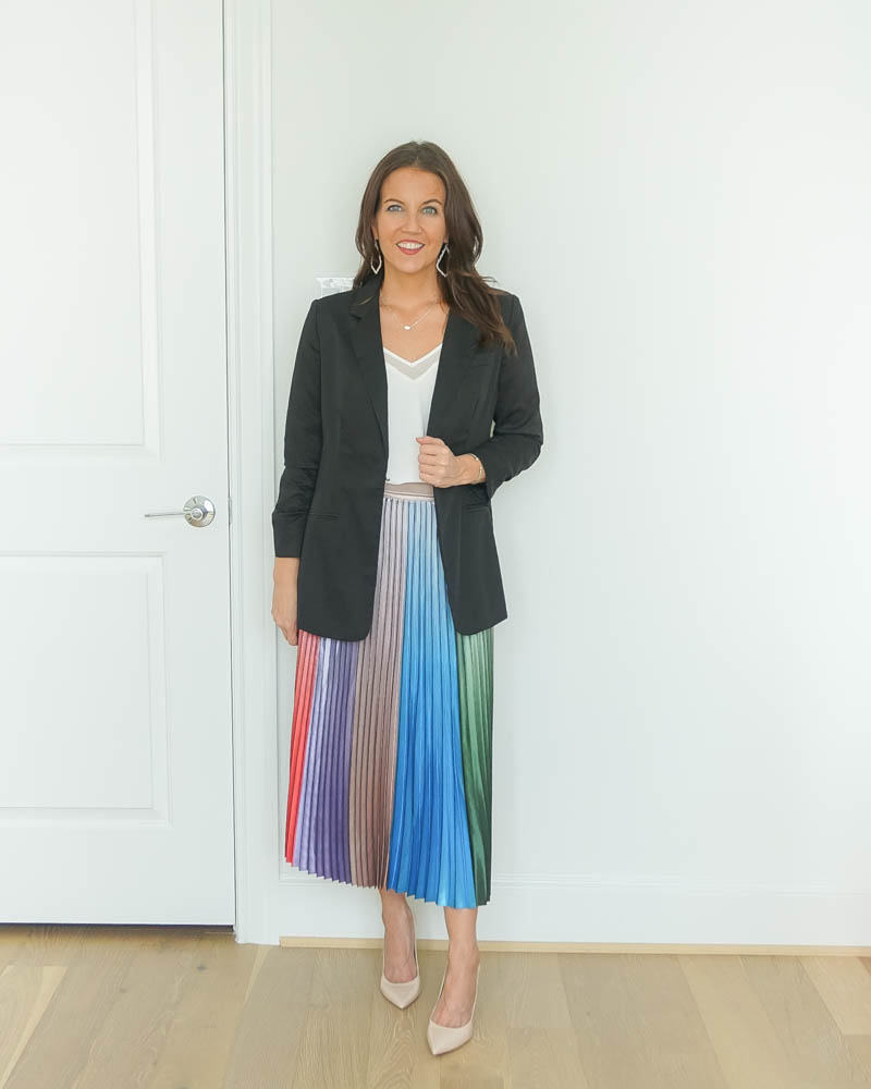 professional office outfit | black blazer jacket | long pleated skirt | Texas Fashion Blog Lady in Violet