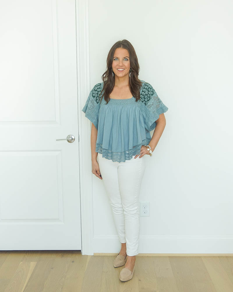 spring outfits | light blue short sleeve top | white skinny jeans | Petite Fashion Blogger Lady in Violet