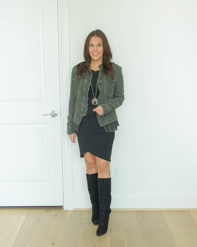 date night outfit | fitted black dress | suede boots | Popular US FAshion Blog Lady in Violet