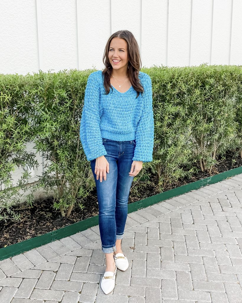 fall outfits | blue cropped sweater | white shoes | Casual Fashion Blog Lady in Violet