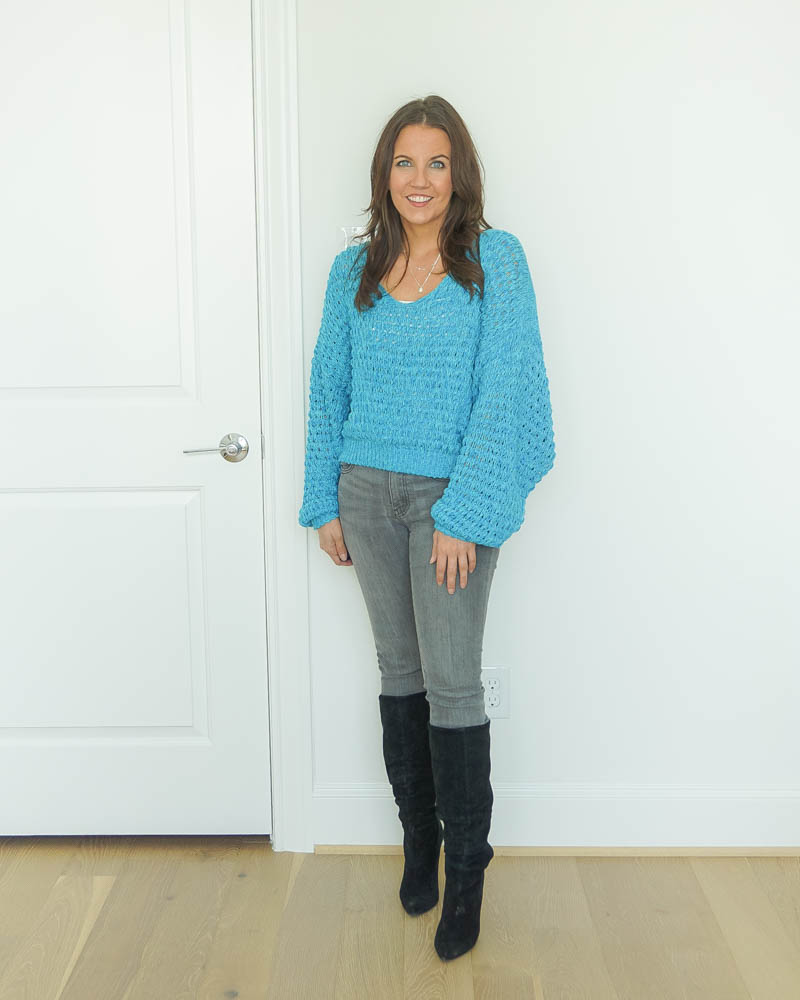 winter outfits | gray jeans | black suede boots | Popular US Fashion Blogs Lady in Violet