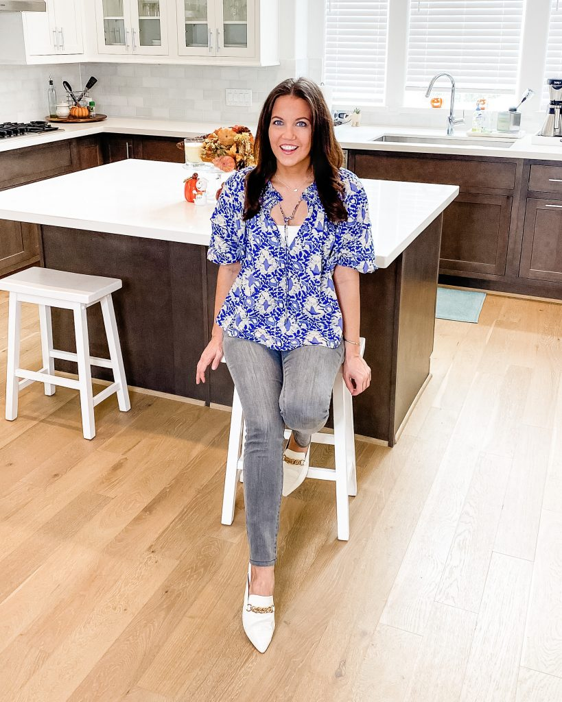 casual outfit | blue short sleeve top | gray jeans | Popular US Lifestyle Blog Lady in Violet