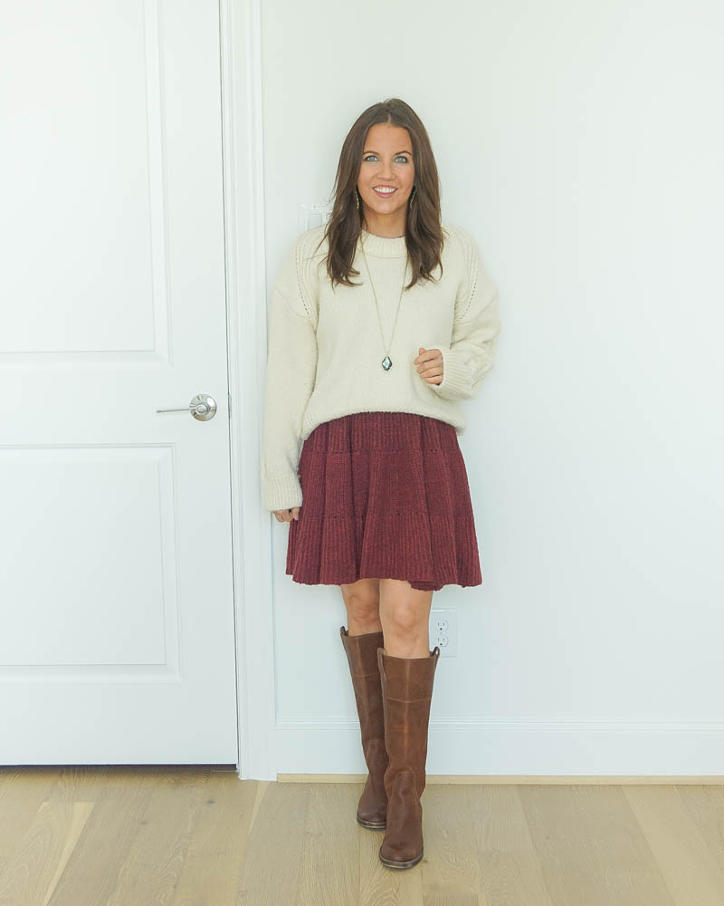 fall outfit ideas | ivory chunky sweater | maroon sweater dress | boots | Southern Fashion Blog Lady in Violet