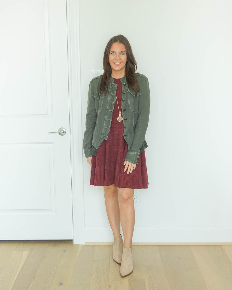 layered fall outfit | jacket over swing dress | light brown booties | Affordable Fashion Blog Lady in Violet