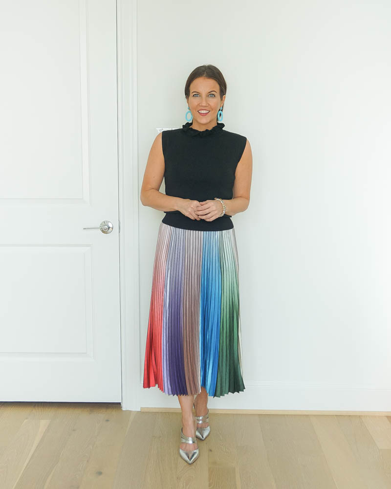 wedding guest outfit | rainbow pleated midi skirt | silver heels | Petite Fashion Blogger Lady in Violet