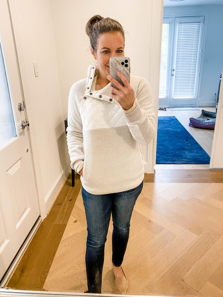 cold weather outfit | white fleece pullover | dark blue jeans | Affordable Fashion Blog Lady in Violet