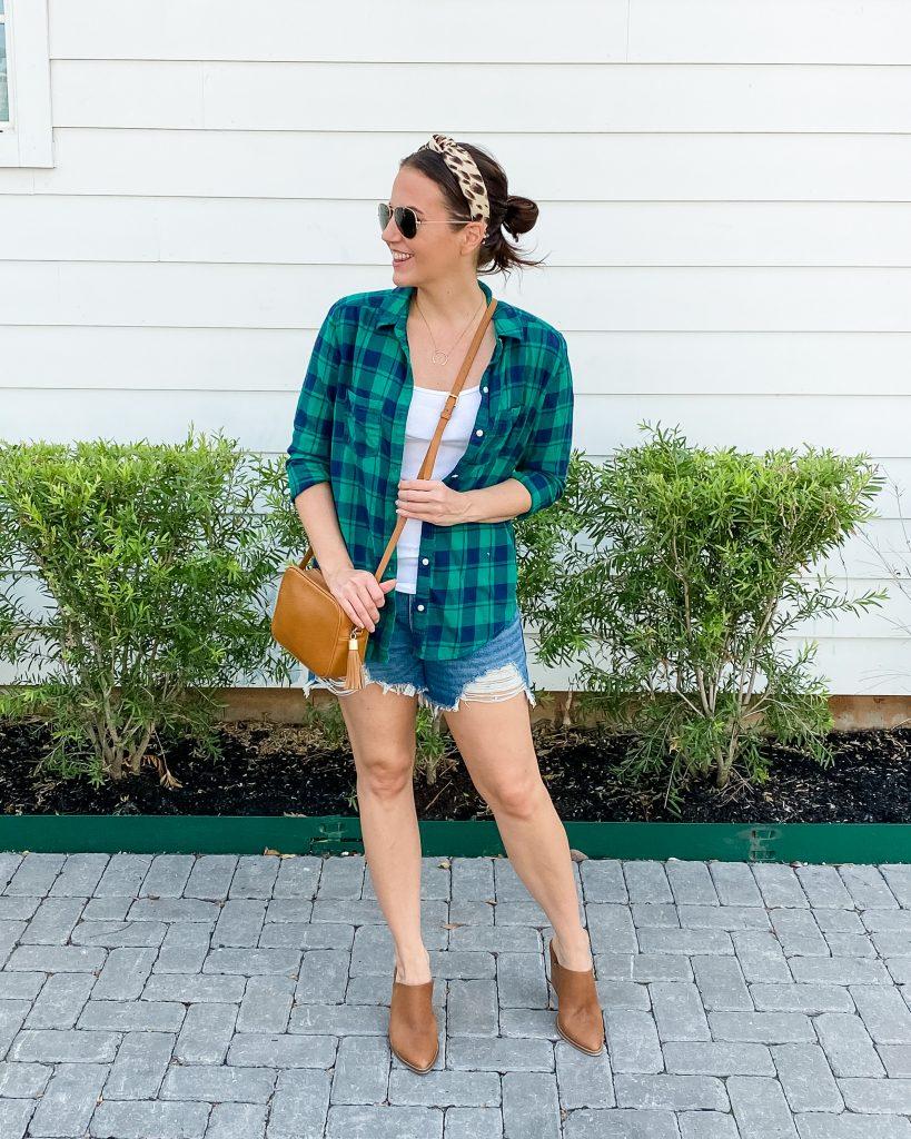 warm fall outfit | plaid shirt | cutoff jean shorts | Houston Fashion Blogger Lady in Violet