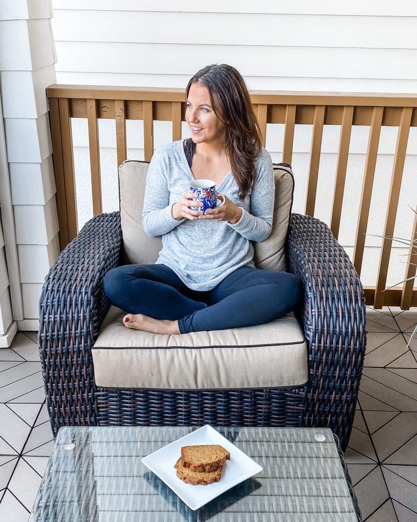 winter pajamas | gray long sleeve tee | black leggings | Texas Fashion Blog Lady in Violet