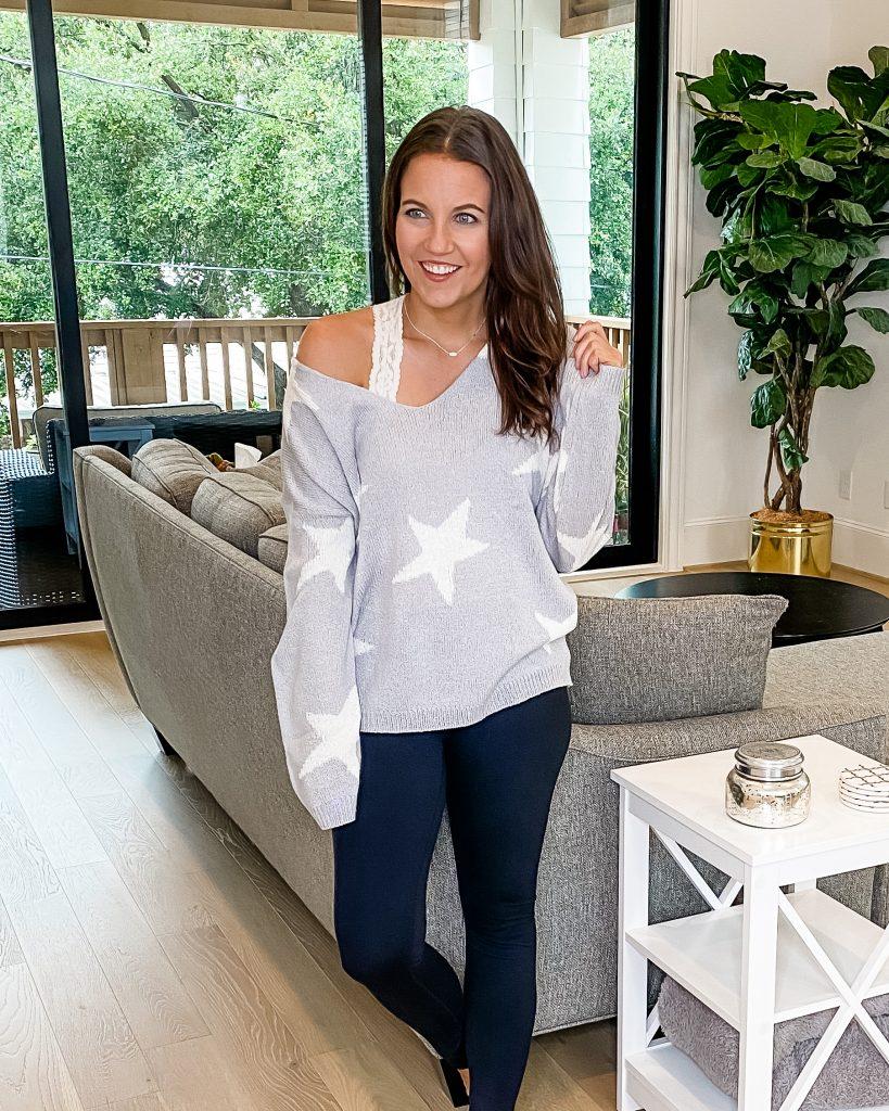 winter loungewear | gray star print sweater | black leggings | Popular US FAshion Blog Lady in Violet