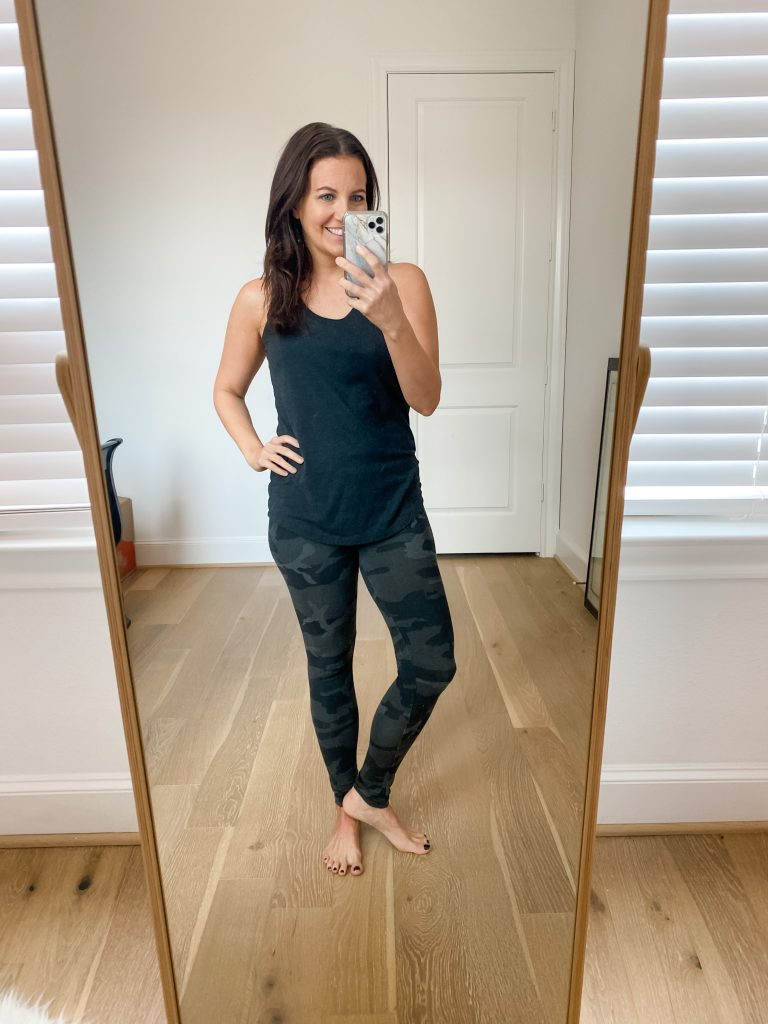 comfy lounge clothes | dark gray tank top | gray camo leggings | Lifestyle Blogger Lady in Violet