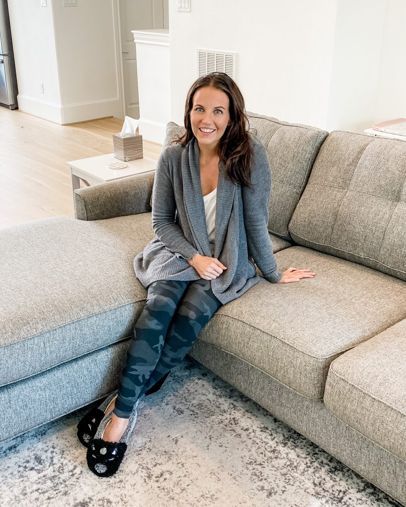 at home loungewear | gray cardigan | camo print leggings | Houston Lifestyle Blog Lady in violet