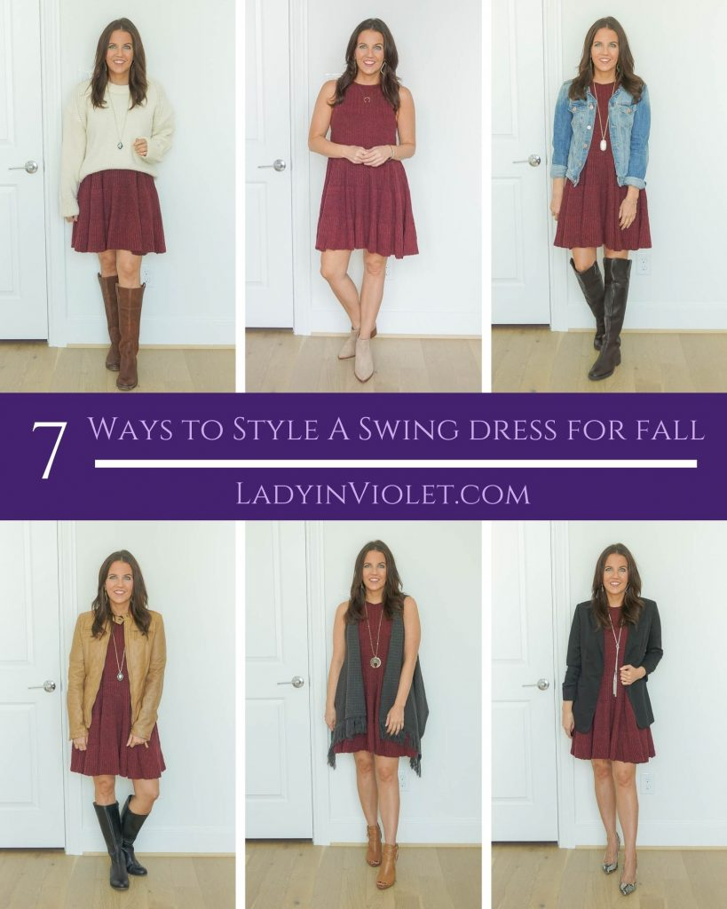 seven ways to style a swing dress for fall | fall outfit ideas | Popular US fashion blog Lady in Violet