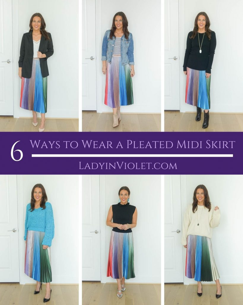 six Ways to Wear a Pleated Midi Skirt | work outfits | fall fashion | Petite Fashion Blog Lady in Violet