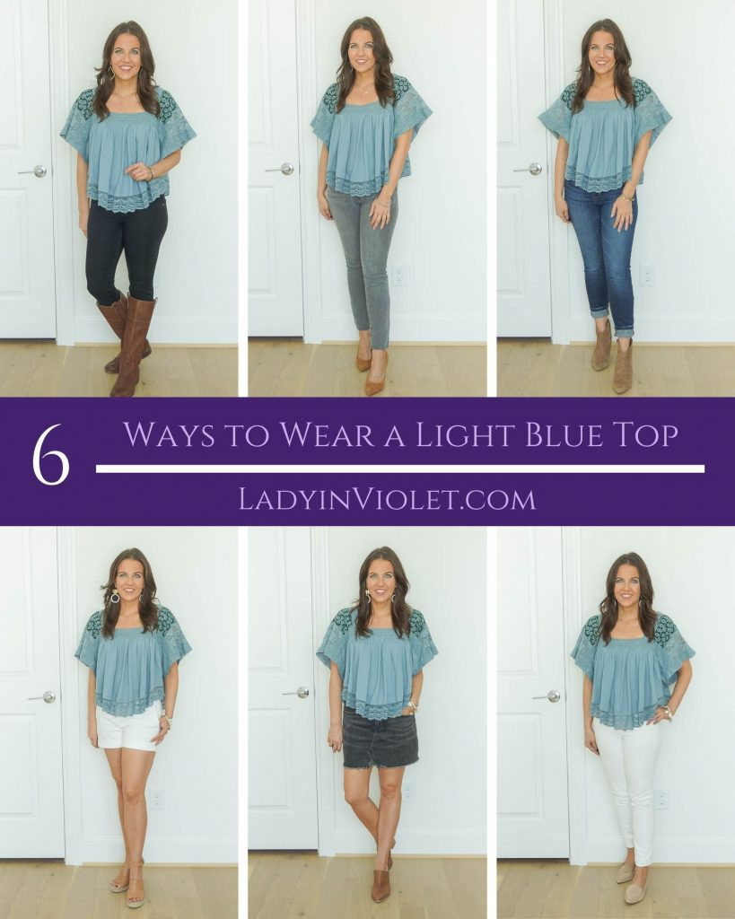 six ways to wear a light blue top | casual outfit ideas | free people prairie top | Petite Fashion Blog Lady in Violet