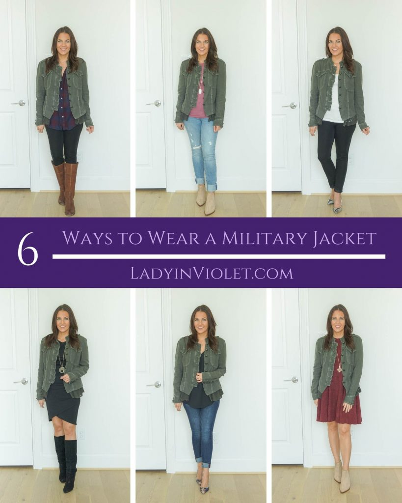 six ways to wear a military jacket | fall outfit ideas | Popular US fashion blog Lady in Violet