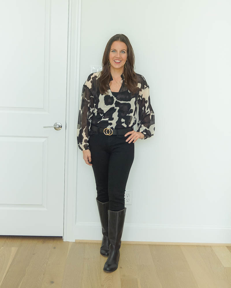fall outfit | cow print top | black knee high boots | Petite Fashion Blogger Lady in Violet