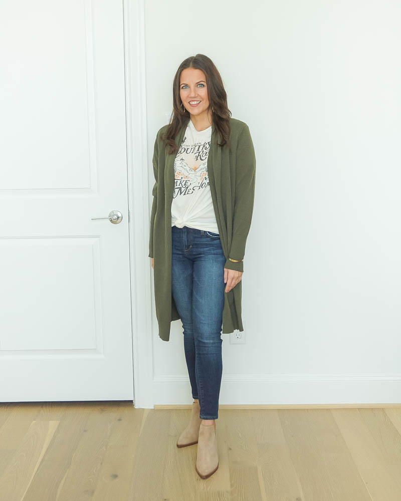 fall outfit | olive green long cardigan over graphic print tee | booties | Houston Fashion Blog Lady in Violet