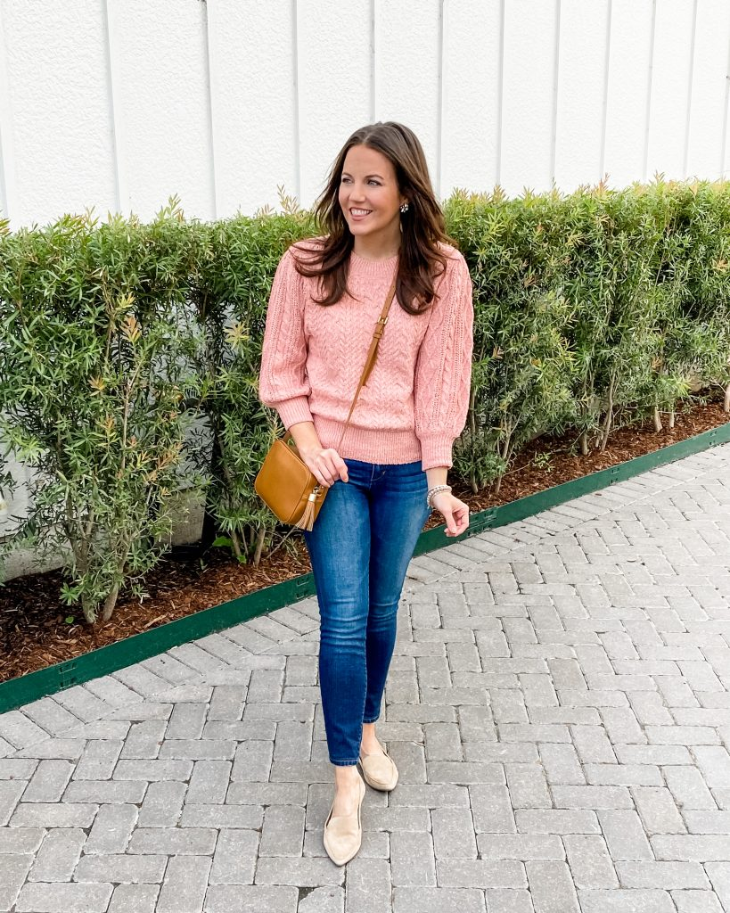 fall outfit | pink sweater | tan loafers | petite fashion blog lady in violet
