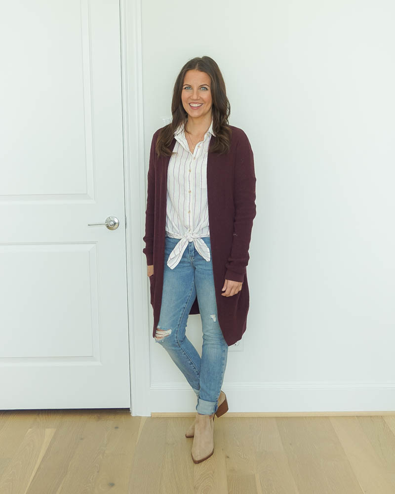 fall outfits | maroon long cardigan sweater | distressed jeans | Houston Fashion Blog Lady in Violet