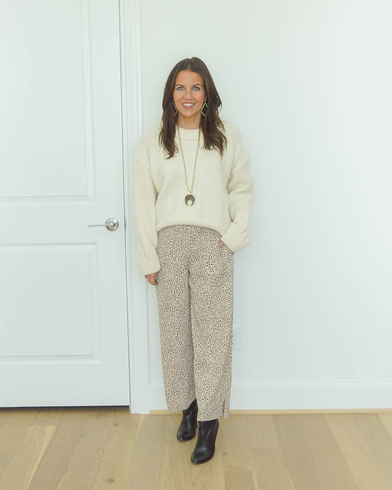 winter work outfit | ivory cropped sweater | leopard print pants | Houston Fashion Blog Lady in Violet