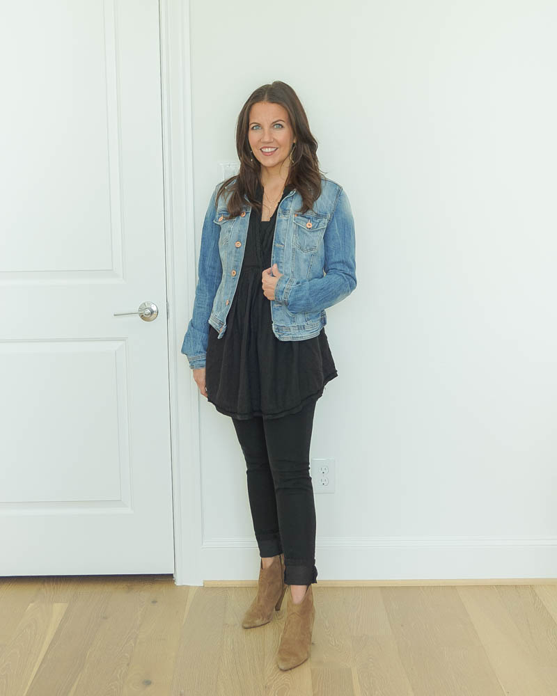 all black outfit | blue jean jacket | booties | Texas Fashion Blog Lady in Violet