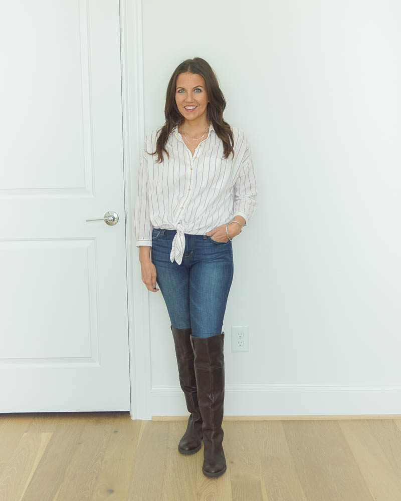 fall outfit | striped button up top | over the knee boots | Texas Fashion Blog Lady in Violet