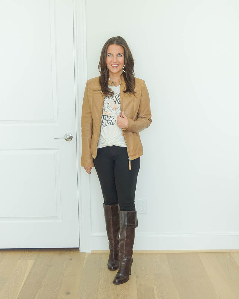 fall outfit | tan leather jacket with graphic tshirt | tall brown boots | Texas Fashion Blog Lady in Violet