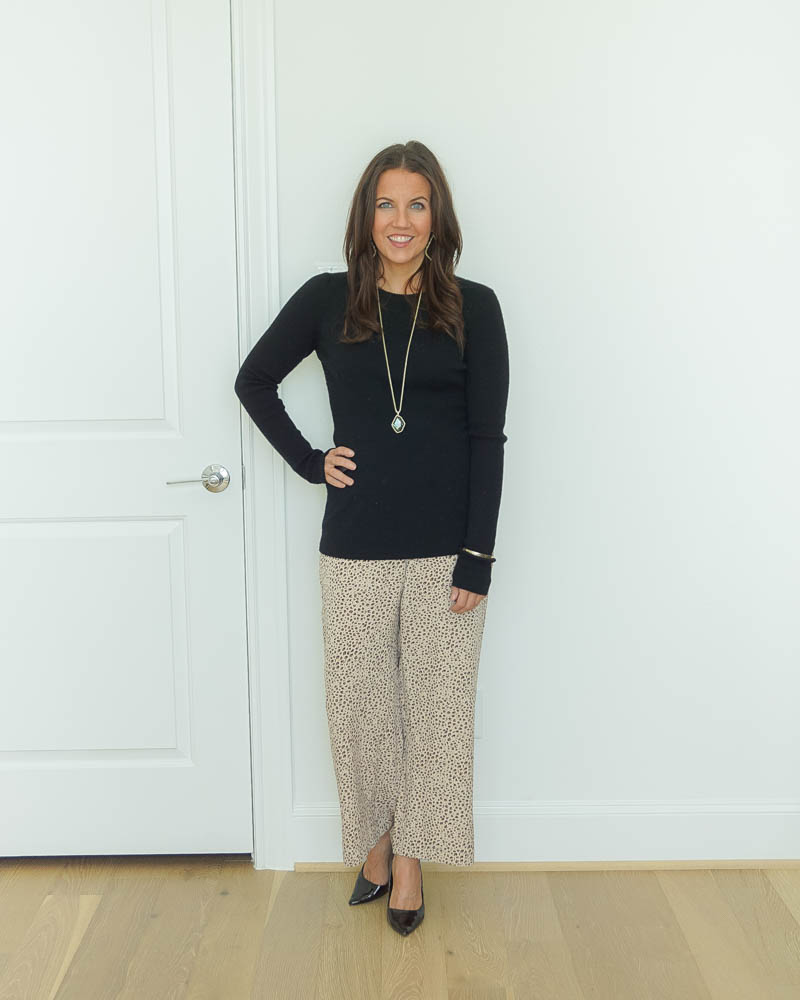 winter office outfit | long black fitted sweater | animal print ankle pants | Texas Fashion Blog Lady in Violet