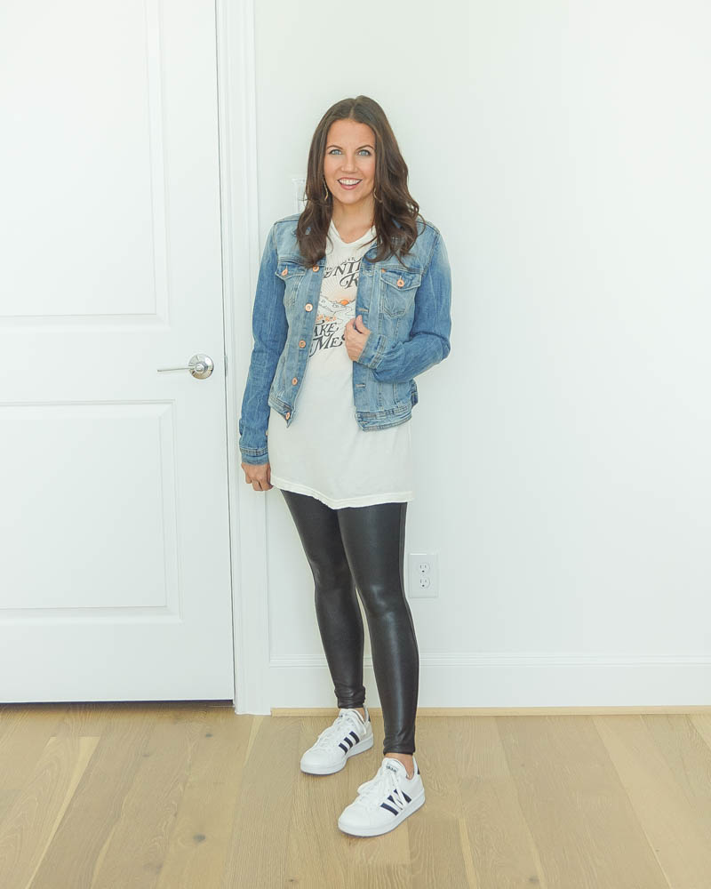 casual outfit | denim jacket with band tee | faux leather leggings | Petite Fashion Blog Lady in Violet