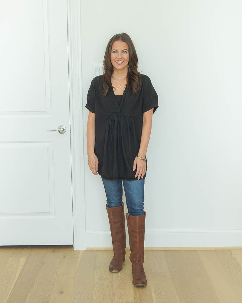 fall outfit ideas | short sleeve long black tunic | tall brown boots | Casual Fashion Blog Lady in Violet