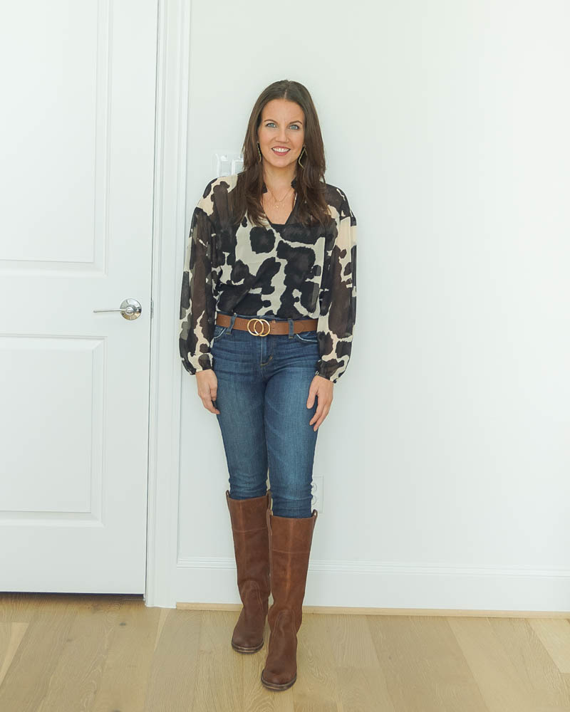 western inspired outfit | cow print blouse | brown knee high boots | Casual Fashion Blog Lady in Violet