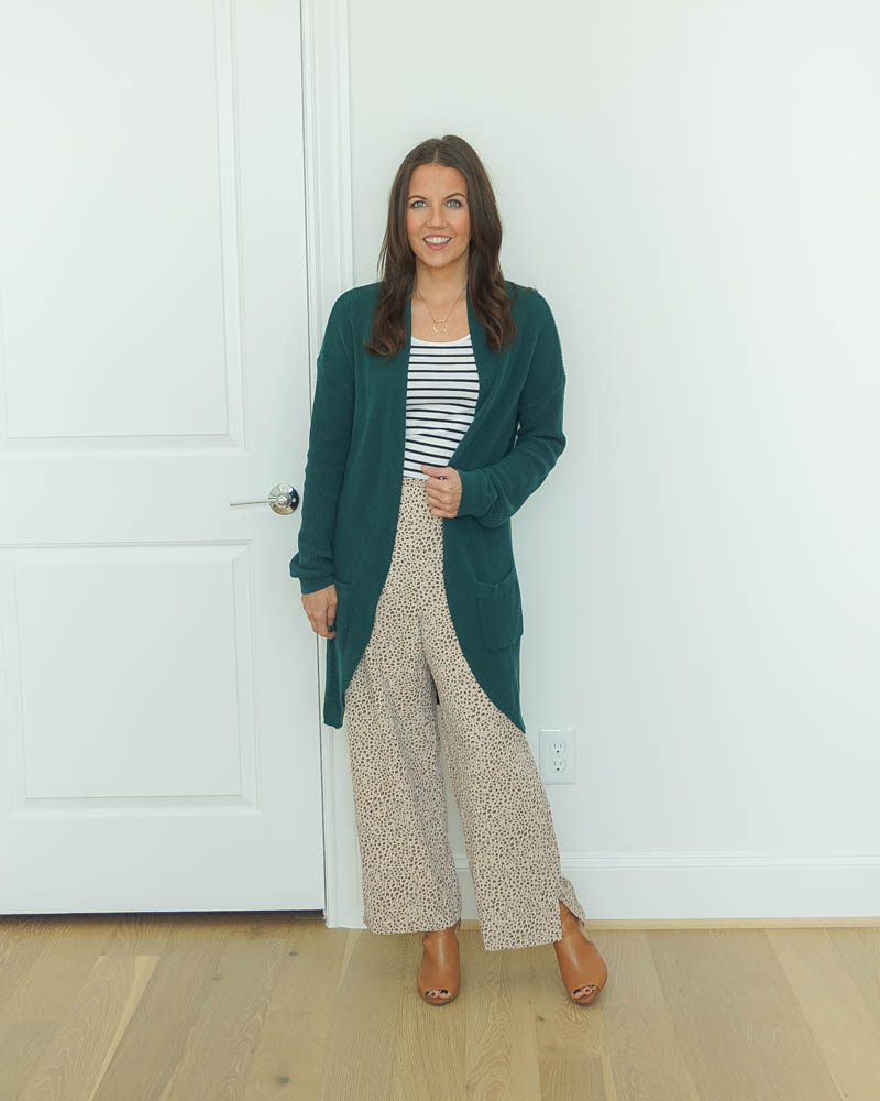 winter outfit | striped tank top under long green cardigan | work pants | Petite Fashion Blog Lady in Violet
