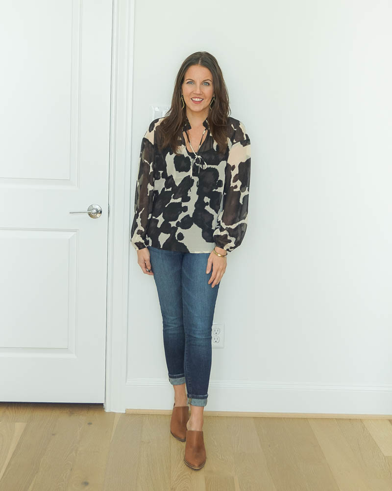 casual outfit | black cow print top | brown mules | Houston Fashion Blog Lady in Violet