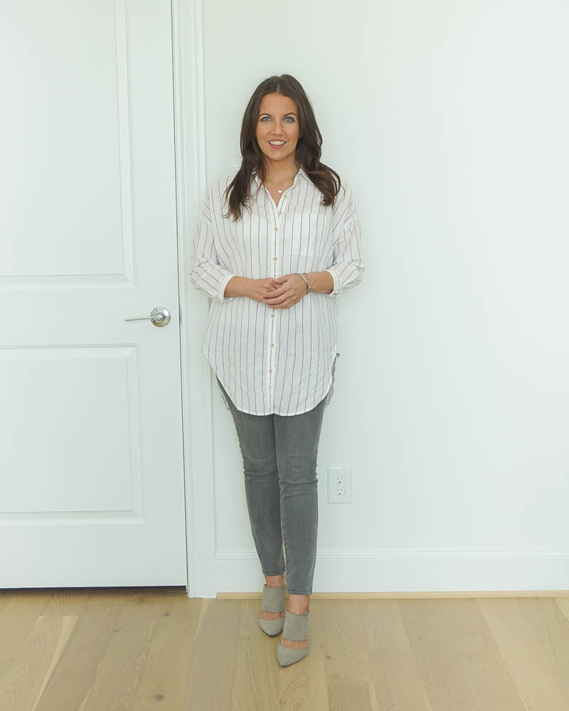 casual work outfit | striped tunic blouse | gray skinny jeans | Casual Fashion Blog Lady in Violet