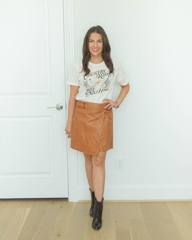 fall outfit | graphic music tee | brown leather mini skirt | black booties | Everyday Fashion Blog Lady in Violet