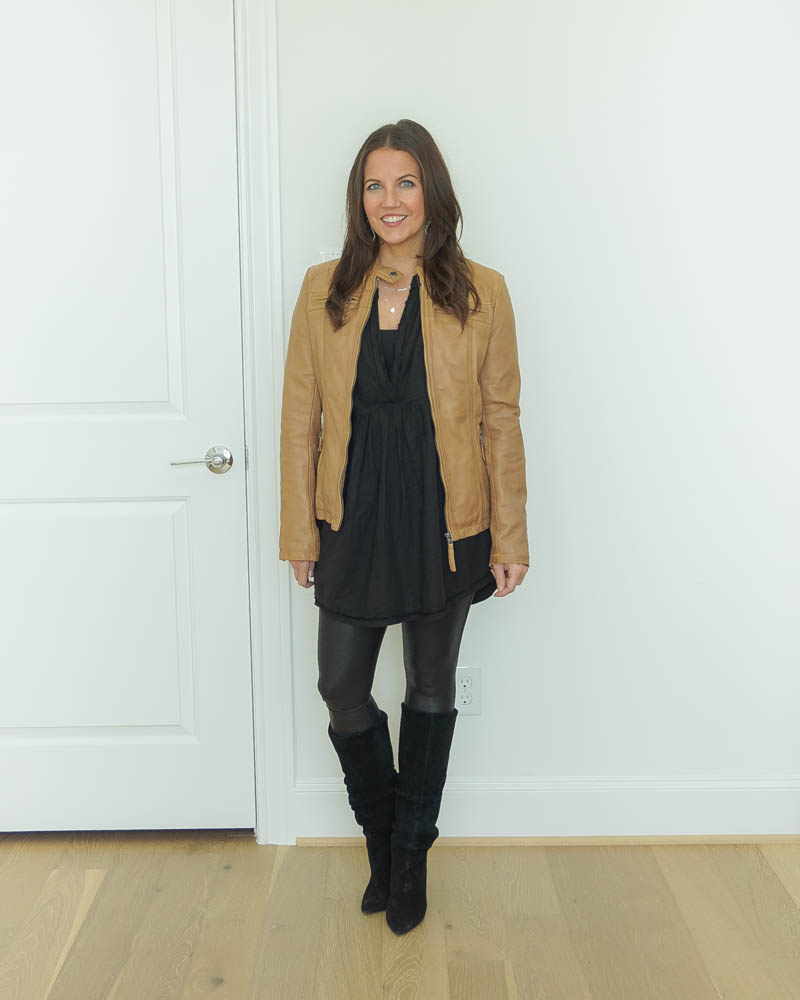fall outfit | light brown leather jacket | faux leather leggings | popular US fashion Blog Lady in Violet