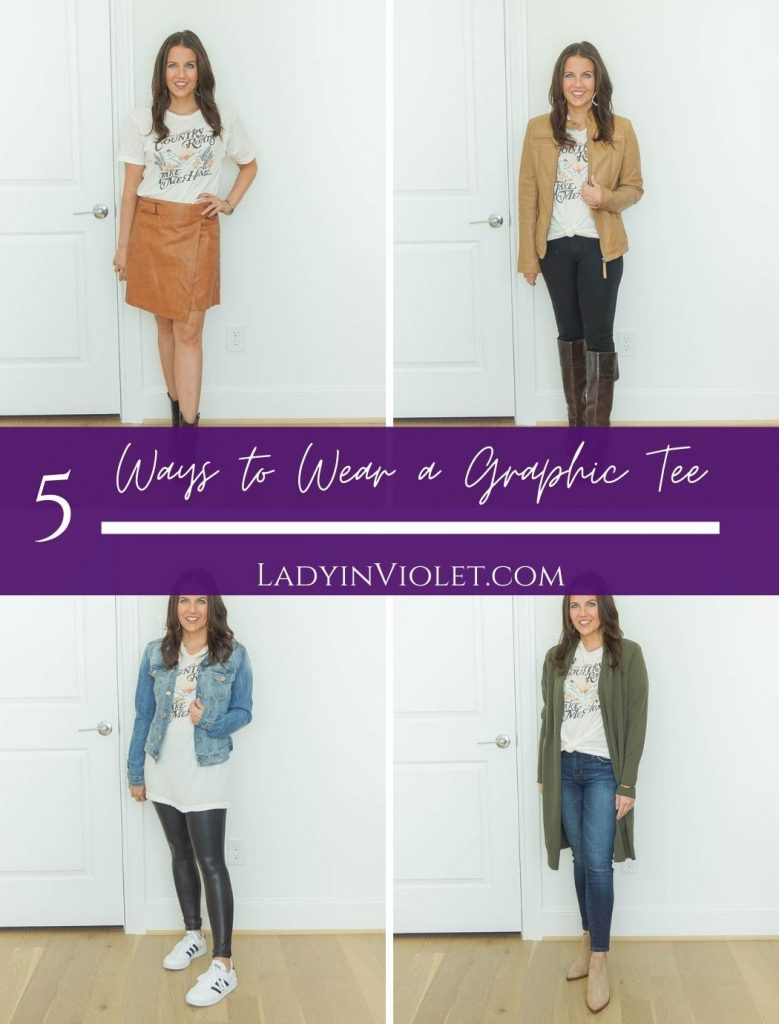 different ways to wear a graphic tee in the fall | fall outfit ideas | casual outfits | Popular US Fashion Blog Lady in Violet