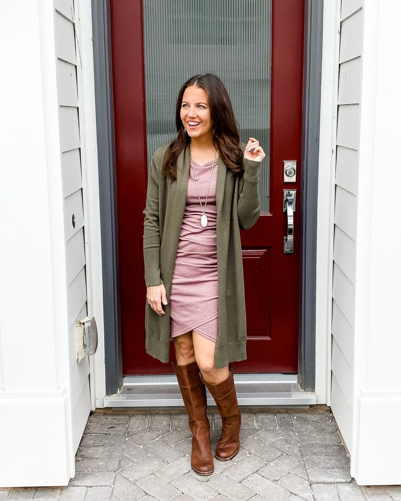 fall outfit | pink fitted dress with long green cardigan | brown knee high boots | petite fashion blogger lady in violet