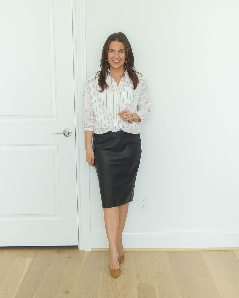 work outfit | striped button up blouse | leather pencil skirt | Petite Fashion Blogger Lady in Violet