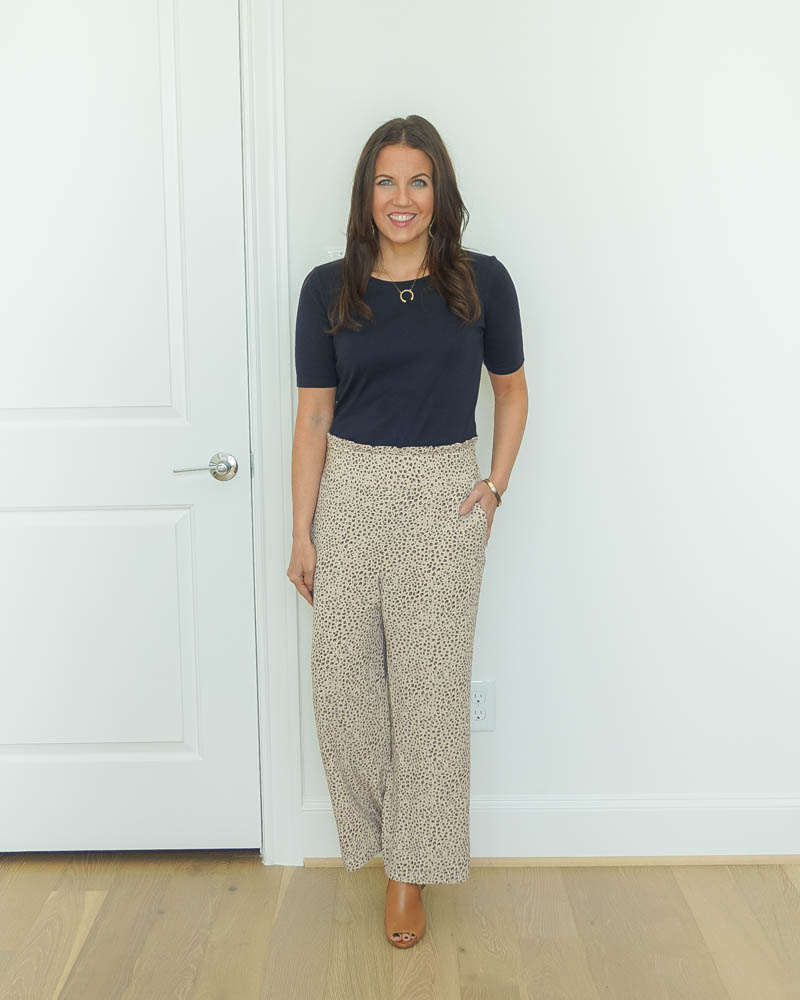 workwear outfit | short sleeve navy top | leopard print pants for work | Popular US Fashion Blog Lady in Violet