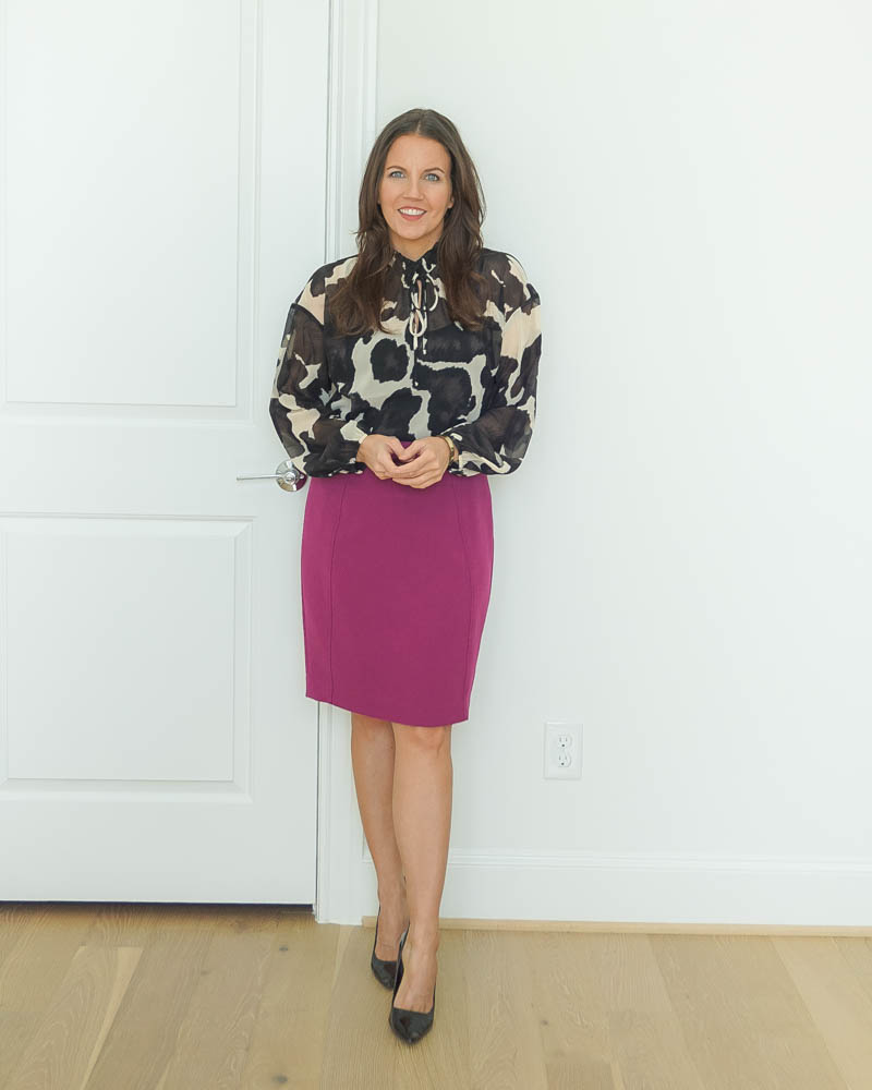 workwear | pink pencil skirt | tie neck blouse | American Fashion Blog Lady in Violet